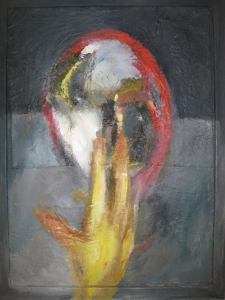 o.T., 1999, Öl/Collage auf Lwd. auf Holz, 94x70 cm